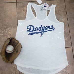 Majestic Tops - LA Dodgers NWT Racerback Tank With Sequins